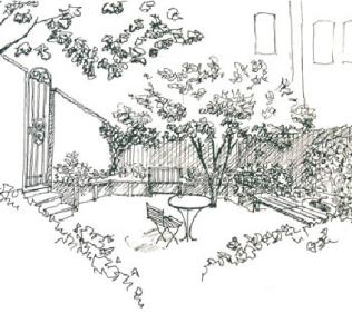 Pen and Ink Patio Sketch