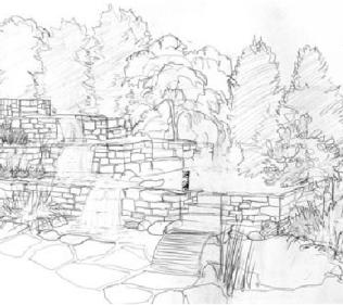 Terraced Landscape Pencil Sketch